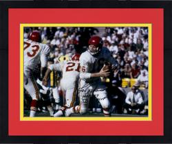 Framed Len Dawson Kansas City Chiefs Autographed 16'' x 20'' White Rollout Photograph with Multiple Inscriptions