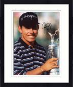 Framed Justin Leonard Autographed 8'' x 10'' Holding Trophy Photograph