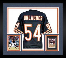 Framed Brian Urlacher Chicago Bears Autographed Reebok Navy Authentic Jersey with Multiple Inscription-Limited Edition of 12