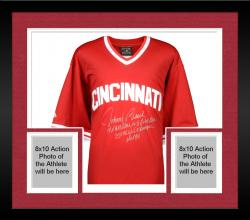 Framed Johnny Bench Cincinnati Reds Autographed Red Throwback Jersey with Multiple Inscription-Limited Edition of 12