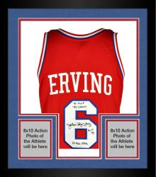 Framed Limited Edition Julius Erving Mitchell & Ness Signed Jersey - Multiple Inscriptions