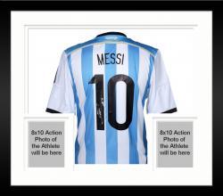 Framed Lionel Messi Argentina Autographed Blue & White Back Jersey