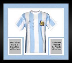 Framed Lionel Messi & Diego Maradona Argentina Dual Autographed Blue Front Jersey