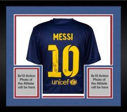 Framed Lionel Messi FC Barcelona Autographed 2013-14 Home Jersey - Signed on Back