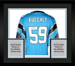 Framed Luke Kuechly Carolina Panthers Autographed Nike Game Blue Jersey