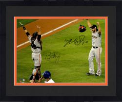 """Framed Madison Bumgarner and Buster Posey San Francisco Giants Autographed 16"""" x 20"""" 2014 World Series Photograph"""