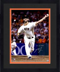 "Framed Madison Bumgarner San Francisco Giants Autographed 16"" x 20"" 2014 World Series Photograph with 14 WS MVP Inscription"