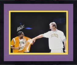 "Framed Magic Johnson Los Angeles Lakers Autographed 16"" x 20"" Bird Jersey Retirement Night Photograph"