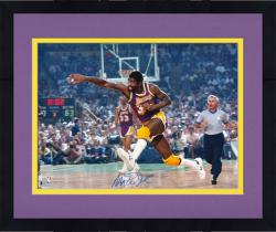 Framed Magic Johnson Los Angeles Lakers Autographed 16'' x 20'' Dribble vs Boston Celtics Photograph