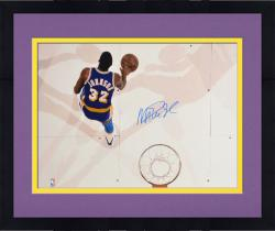 "Framed Magic Johnson Los Angeles Lakers Autographed 16"" x 20"" Layup over Kevin McHale Photograph"