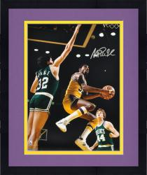 "Framed Magic Johnson Los Angeles Lakers Autographed 16"" x 20"" Layup Photograph"