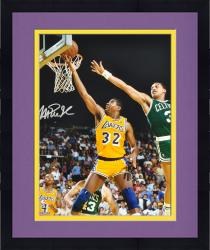 "Framed Magic Johnson Los Angeles Lakers Autographed 16"" x 20"" Layup vs. Boston Celtics Photograph"