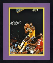 "Framed Magic Johnson Los Angeles Lakers Autographed 16"" x 20"" Layup vs Houston Rockets Photograph"