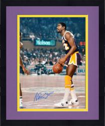 Framed Magic Johnson Los Angeles Lakers Autographed 16'' x 20'' Overhead Photograph