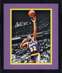 Framed Magic Johnson Los Angeles Lakers Autographed 16'' x 20'' Pointing Down Photograph