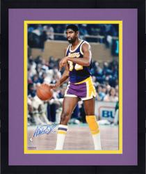 Framed Magic Johnson Los Angeles Lakers Autographed 16'' x 20'' Purple Uniform Dribbling Photograph
