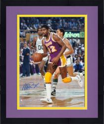 Framed Magic Johnson Los Angeles Lakers Autographed 16'' x 20'' Trophy Photograph -