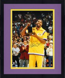 Framed Magic Johnson Los Angeles Lakers Autographed 16'' x 20'' Trophy Photograph