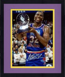 Framed Magic Johnson Los Angeles Lakers Autographed 8'' x 10'' All-Star with Trophy Photograph
