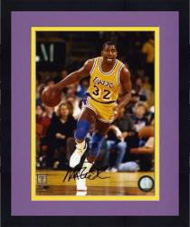 Framed Magic Johnson Los Angeles Lakers Autographed 8'' x 10'' Dribble Photograph