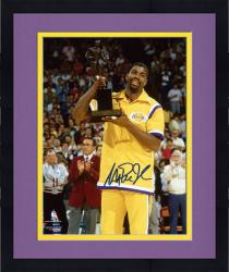 Framed Magic Johnson Los Angeles Lakers Autographed 8'' x 10'' Gold Trophy Photograph
