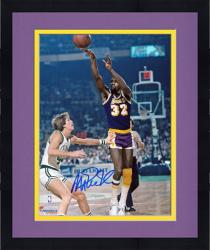 Framed Magic Johnson Los Angeles Lakers Autographed 8'' x 10'' Jump Shot vs Boston Celtics Photograph