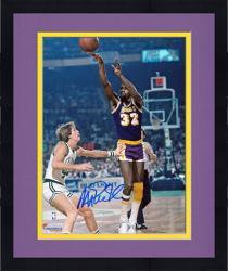 "Framed Magic Johnson Los Angeles Lakers Autographed 8"" x 10"" Jump Shot vs Boston Celtics Photograph"