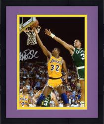 "Framed Magic Johnson Los Angeles Lakers Autographed 8"" x 10"" Layup vs Boston Celtics Photograph"