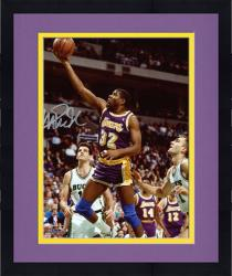 "Framed Magic Johnson Los Angeles Lakers Autographed 8"" x 10"" Layup vs Milwaukee Bucks Photograph"