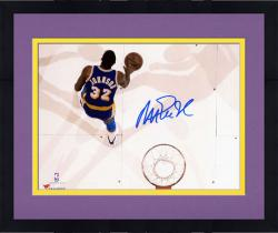 Framed Magic Johnson Los Angeles Lakers Autographed 8'' x 10'' Overhead Photograph