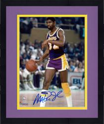 Framed Magic Johnson Los Angeles Lakers Autographed 8'' x 10'' Pointing Down Photograph