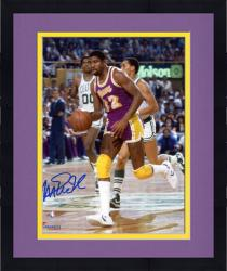 Framed Magic Johnson Los Angeles Lakers Autographed 8'' x 10'' Purple Uniform Dribbling Photograph