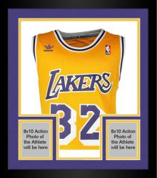 Framed Magic Johnson Los Angeles Lakers Autographed Adidas Swingman Gold Jersey with HOF 02 Inscription