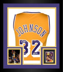 Framed Magic Johnson Los Angeles Lakers Autographed Adidas Swingman Gold Jersey with Multiple Inscription