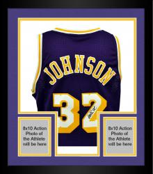 Framed Magic Johnson Los Angeles Lakers Autographed Adidas Swingman Purple Jersey