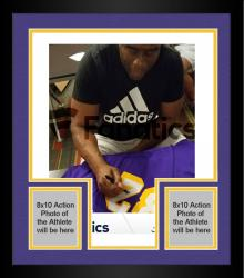 Framed Magic Johnson Los Angeles Lakers Autographed Adidas Swingman Purple Jersey with 5X NBA Champs Inscription