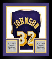 "Framed Magic Johnson Los Angeles Lakers Autographed adidas Swingman Purple Jersey with ""Showtime"" Inscription"