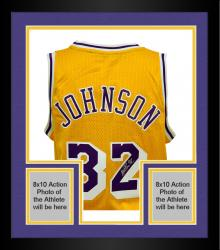 Framed Magic Johnson Los Angeles Lakers Autographed Adidas Swingman Yellow Jersey