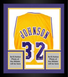 Framed Magic Johnson Los Angeles Lakers Autographed Custom Gold Jersey with Showtime Inscription
