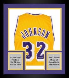 "Framed Magic Johnson Los Angeles Lakers Autographed Gold Jersey with ""HOF 02"" Inscription"