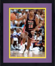 Framed Magic Johnson Team USA Autographed 8'' x 10'' Dribbling Photograph -