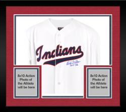 "Framed Majestic Bob Feller Cleveland Indians Autographed Jersey with ""HOF 62"" Inscription - White"
