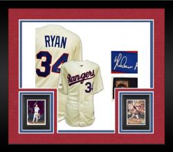 Framed Majestic Cooperstown Collection Nolan Ryan Texas Rangers Autographed Jersey - White