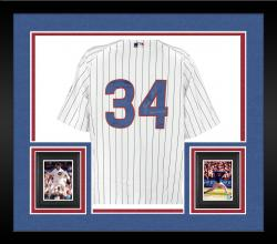 Framed Majestic Kerry Wood Chicago Cubs 2005 Game-Used Autographed Jersey - White Pinstripe