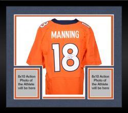 Framed Peyton Manning Denver Broncos Autographed Nike Elite Orange Jersey