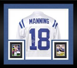 Framed Peyton Manning Indianapolis Colts Autographed Reebok Authentic White Jersey
