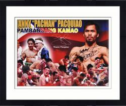 "Framed Manny Pacquiao Autographed 15"" x 21"" Fight Collage Photograph"