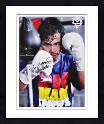 "Framed Manny Pacquiao Autographed 15"" x 21"" Speed Bag Photo Phototgraph"