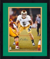 "Framed Manti Te'o Notre Dame Fighting Irish Autographed 16"" x 20"" Stance vs. USC Trojans Photograph"