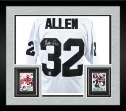 Framed Marcus Allen Oakland Raiders Autographed White Custom Jersey with HOF '03 Inscription - Mounted Memories